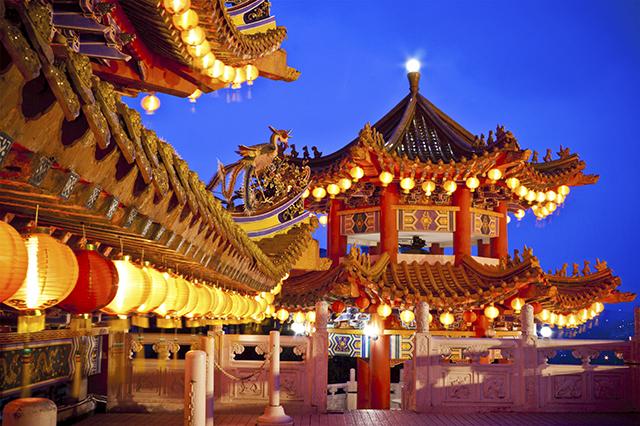 Cảnh đêm ở đền Thean Hou cực kỳ lung linh